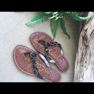 Sam Edelman brown black stones flat sandal Sz 7.5